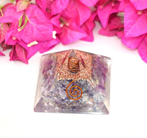 Orgone Energy Generator Pyramid | Natural Multi Fluorite Orgonite Pyramid | Emf Protection | Reiki Healing Home Office Gift Wellness Gemstone Prosperity Health Chakra Balancing (Generator Price In India For Home Use)