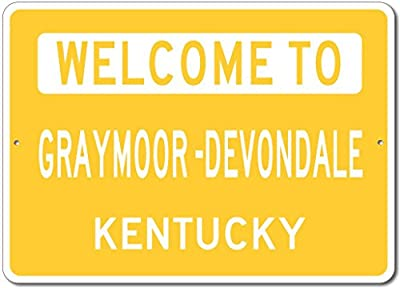 The Lizton Sign Shop Welcome To Graymoor -Devondale, Kentucky - Aluminum U.S. City State Novelty Sign