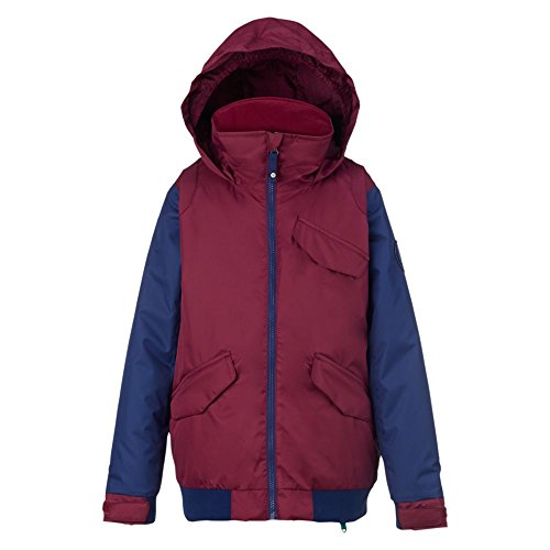 Burton Youth Girls Twist Bomber Jacket, Sangria/Spellbound, Small (Warmest Jacket Snowboard)