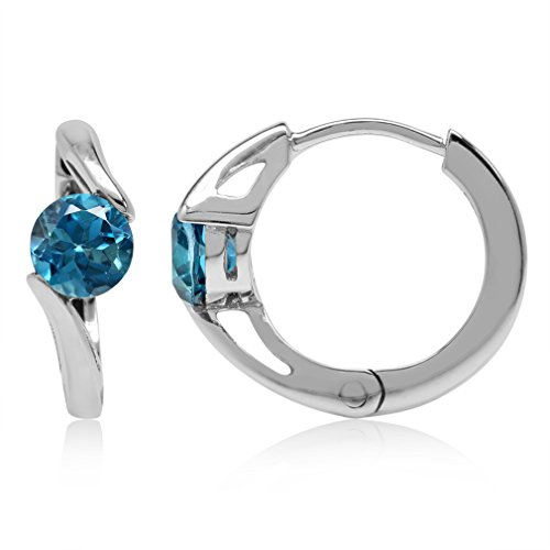- 1.24ct. 5MM Genuine London Blue Topaz White Gold Plated 925 Sterling Silver Huggie/Hoop Earrings