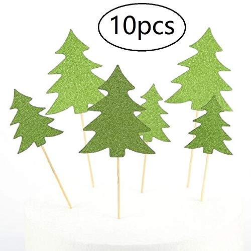 10pcs Christmas Trees Cupcake Topper Xmas Cupcake Picks for Xmas Party Decoration(Green)