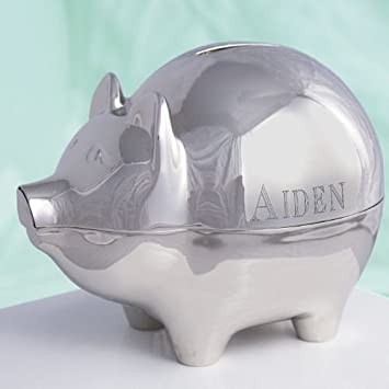 Amazon engraved silver piggy bank toy banks baby engraved silver piggy bank negle Choice Image