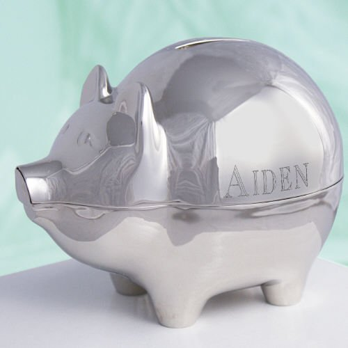 Amazon Com Engraved Silver Piggy Bank Toy Banks Baby