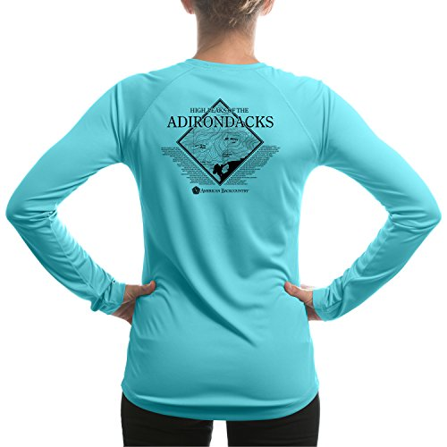 American Backcountry Women's High Peaks of the Adirondacks UPF 50+ Long Sleeve T-shirt Small Water Blue -