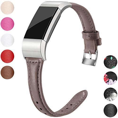 (Maledan Compatible with Fitbit Charge 2 Bands, Slim Genuine Leather Band Accessories Replacement Strap Compatible with Fitbit Charge 2 Fitness Wristband for Women Men, Small,)