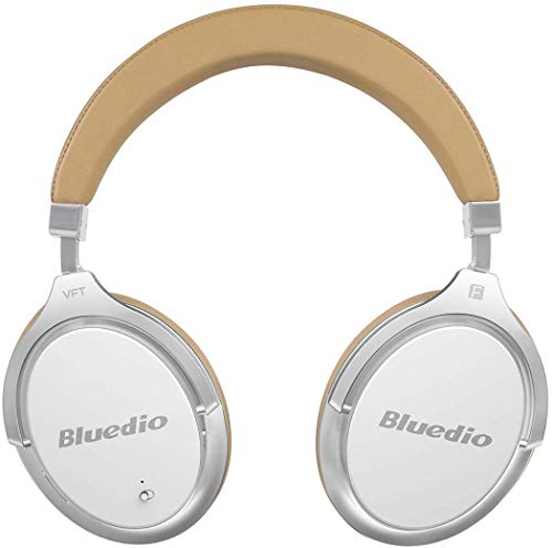 Bluedio Active Noise Cancelling Bluetooth Headphones, High-End ANC 3D Sound Effect 180 Rotation Wireless Wired Over Ear Headphones with Gift-Package Carrying Case White