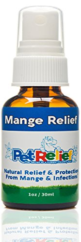 PET RELIEF Mange Relief Medicine for Dogs Mange Treatment, Sarcoptic, Demodex, Demodectic Mange Medicine,! 40 Day Supply (30ml) Antifungal Skin Relief for Dogs, Better Than Meds, No Side Effects USA