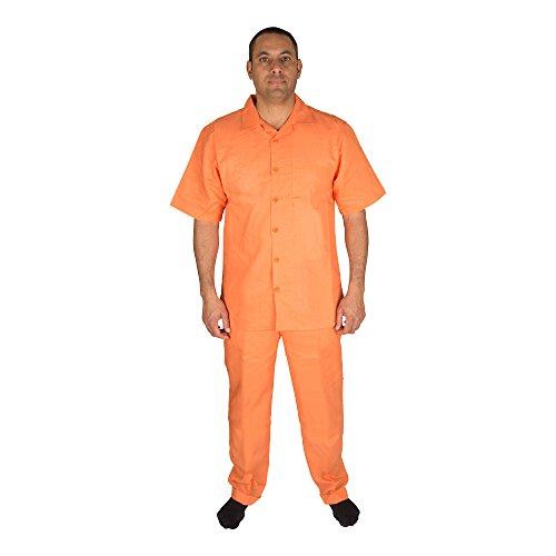 Vittorino Men's 100% Linen 2 Piece Walking Set with Long Pants and Short Sleeve Shirt, Papaya, XXX-Large 44-33