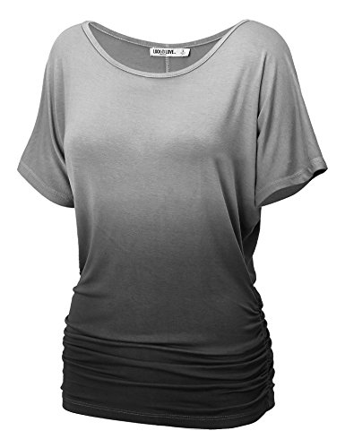 WT990 Womens Round Neck Short Sleeve Dip-Dye Dolman Top XL BLACK by Lock and Love
