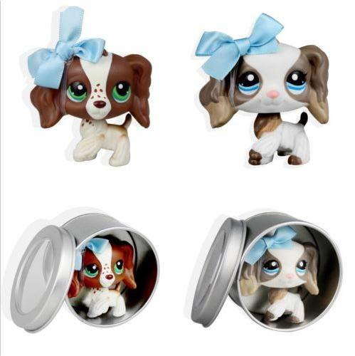 (2pcs Littlest Pet Shop Cocker Spaniel Puppy Dog LPS #2254 #156 Blue Bowknot)