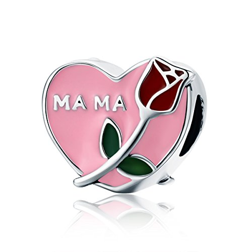 (Everbling Mama Mother in Heart Rose Flower Pink Enamel 925 Sterling Silver Bead Fits European Charm Bracelet)
