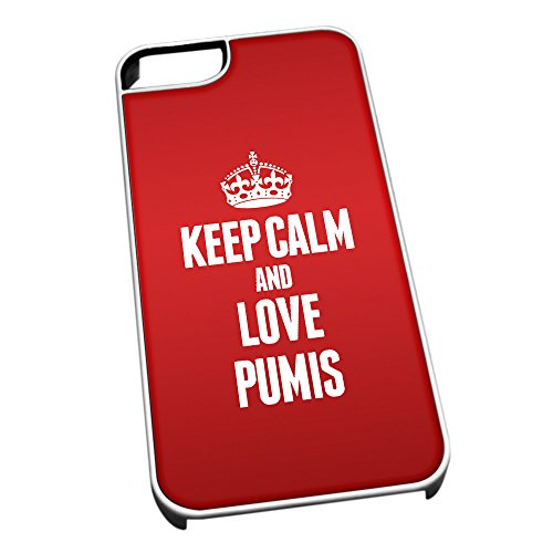 Bianco cover per iPhone 5/5S 2057Red Keep Calm and Love Pumis