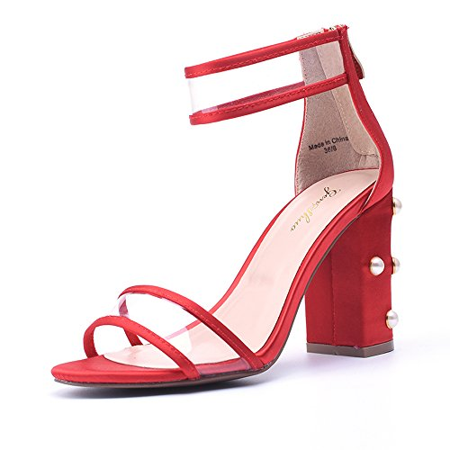 GENSHUO Women's Single Band Chunky Heel Sandal with Ankle Strap RD 8.5 (Chunky Band)