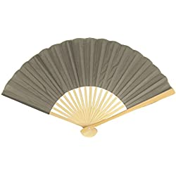 "Quasimoon 9"" Gray / Grey Silk Hand Fans for Weddings (10 Pack) by PaperLanternStore"