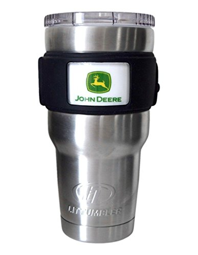 John Deere LiT Stainless Steel Agricultural Logo Travel Tumbler 30oz Water Bottle, Medium, Silver