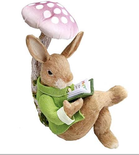 Home Sisal Bunny Rabbit Reading Book Under Mushroom, 14