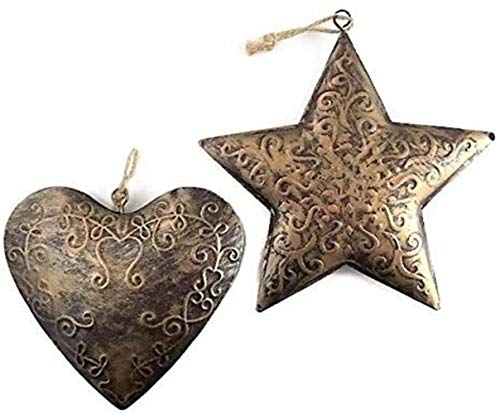 Antiqued Gold Heart and Star Christmas Ornament Bundle, Brushed Metal Farmhouse Primitive Country Holiday Decor (Clearance Primitive Decor)