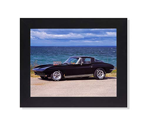 1963 Black Chevy Corvette Coupe Automobile Car Wall Picture Framed Art Print