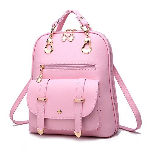 Mefly Estudiante Bolsa Bolso Mochila Azul Marino Light pink