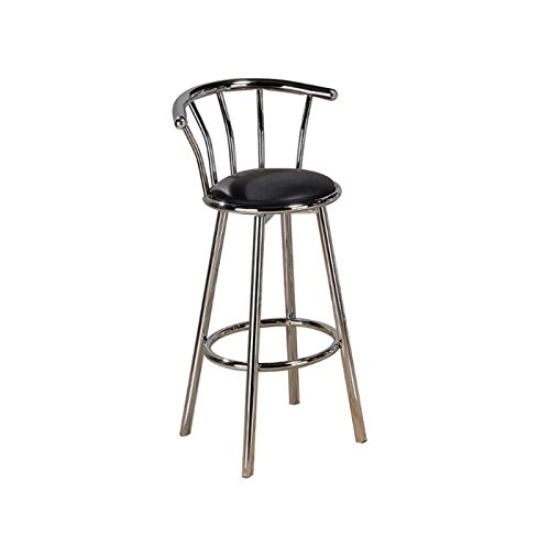 - Moon_Daughter Congratulate Party 4 pc Set Black Bar Kitchen Stool Swivel Padded Seat Chrome Metal Chair Footrest Weight limit 220 pounds