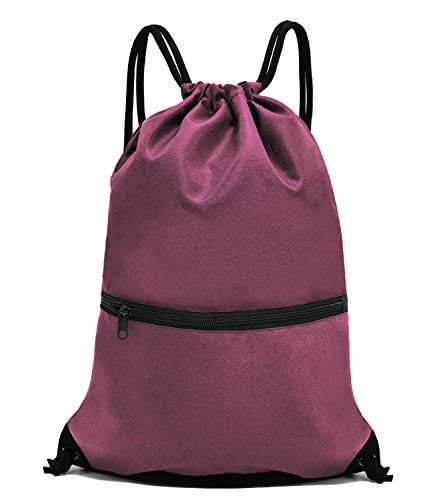 - HOLYLUCK Men & Women Outdoor Sport Gym Sack Drawstring Backpack Bag - Burgundy