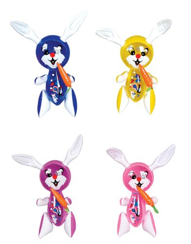 RI Novelty Inflatable Rabbits with Carrot Assorted Colors 12 -