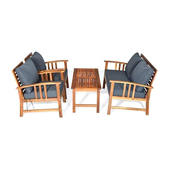 Tangkula 4 PCS Wood Patio Furniture Set, Outdoor Seating Chat Set with Gray Cushions & Back Pillow, Outdoor Conversation Set with Coffee Table, Ideal for Garden, Backyard, Poolside (Wood) - ☀️ Sturdy & Durable Frame☀️ : The frame of set is made of premium acacia wood which ensures the sturdiness and durability. And the set is not easy to deform and crack so that the set will provide long time service. With no peculiar smell and clear varnish on the wood, the frame is waterproof and the beauty can be kept for long time. ☀️ Ergonomic Design of Sofa ☀️ : Designed with slightly sloping backrest and curved handrails, the single chair and loveseat is very comfortable for relaxing yourself. With thick and soft cushions, it will also add comfort. And the seat cushions can be fixed on the slat of chair with strings. You don't need to worry about moving of cushion. ☀️ Multipurpose 4-piece Furniture☀️ : Our furniture set which includes 4 pieces can be combined in various ways or be used separately according to your different needs. You can enjoy good time with your family to drink, eat or chat. The set is ideal for your garden, patio, balcony, poolside and backyard to be a perfect décor. - patio-furniture, patio, conversation-sets - 419%2BvlmQhbL. SS570  -