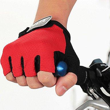 FJQXZ Unisex Anti-skid Half Finger Red Cycling Gloves , L