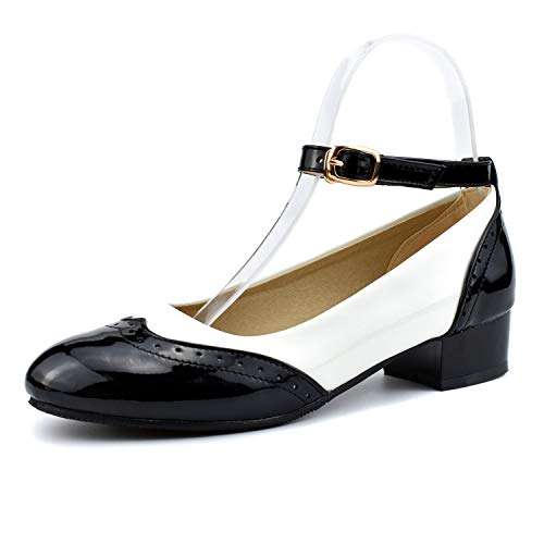 100FIXEO Black Women Ankle Strap Saddle Oxford Shoes 7 (B) M US]()