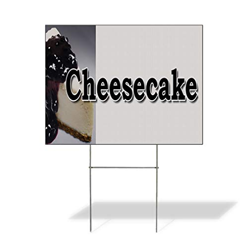 - Plastic Weatherproof Yard Sign Cheesecake Food Fair Truck Restaurant Cake Desserts Black Cheesecake for Sale Sign Multiple Quantities Available 18inx12in One Side Print One Sign