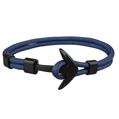 SHILINWEI 2019 Black Color Anchor Bracelets Men Charm Survival Rope Chain Paracord Bracelet Male Wrap Metal Sport Hooks,I