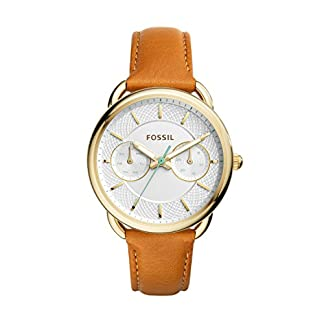 Fossil ES4006 – Reloj de cuarzo con correa de cuero para mujer, color blanco / marrón