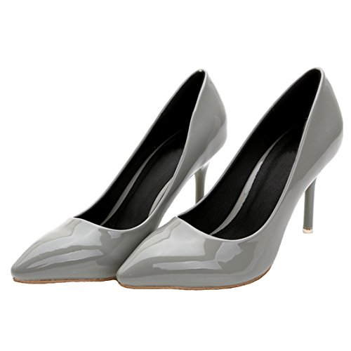 Toe Grey Simple Ballroom Pumps Women's Patent HooH Leather Stiletto Pointed Dress HOCZc4WU