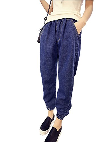 Mujer Boyfriend Vaqueros Loose Fit Pantalones Jeans Harem Pants Color Sólido Azul