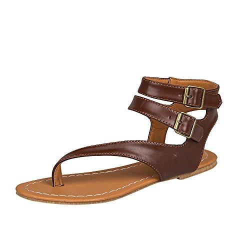 POHOK Women Summer Strappy Gladiator Low Flat Heel Flip Flops Beach Sandals Shoes(40,Brown) ()
