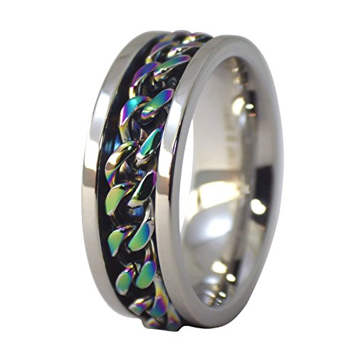 Gold Silver Bureau (Fantasy Forge Jewelry Rainbow Chain Worry Band Stainless Steel Spinner Ring 8mm Comfort Fit Size 10)