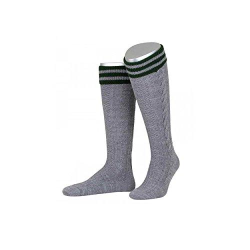 Almbock Trachten Socken Albert - Farbe mittel-grau, handverarbeitet, verziert mit Ranke in tannen-grün, aus Merino Schurwolle, Zopfmuster, original