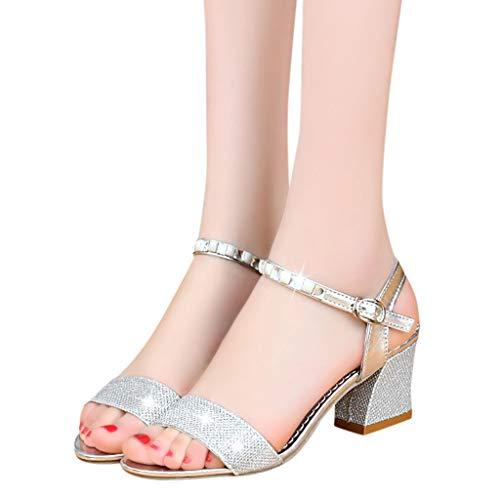 Non Selvaggi Donna Tacco 35 Alto Con Shopping Casuale 41 Scarpe Sandali Moda Estate Bazhahei Silver Per Eleganti Fibbia Cristallo Vacanza slip 8f6xwIqv