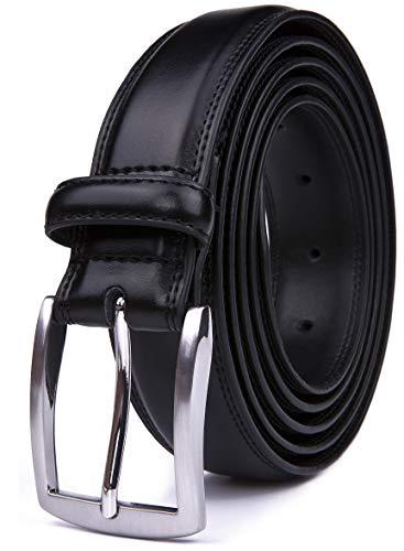 Belt Classic Black Leather - Mens Belts, 32MM Casual Belt with Pin Buckle (30, Black)