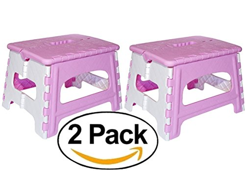 Green Direct Kids Step Stool – A Great Adult Bedside Step Stool – The Ideal folding Step Stool (Pink), 2 Count by Green Direct