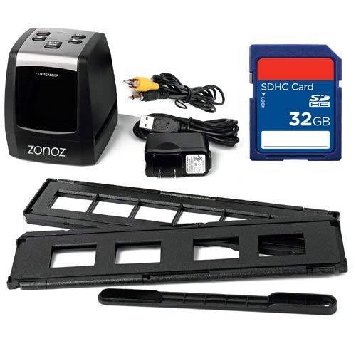 zonoz FS-ONE 22MP Ultra High-Resolution 35mm Negative Film & Slide Converter Scanner w/LCD, No Computer or Software Required, TV Cable, Worldwide Voltage 110V/240V AC Adapter & 32GB SD Card (Bundle) by zonoz