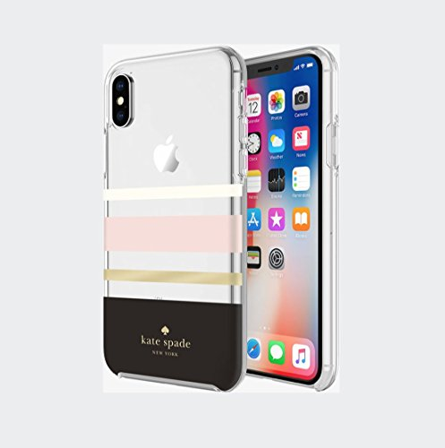 Kate Spade New York Phone Case | for Apple iPhone X and 2018 iPhone Xs | Protective Clear Crystal Phone Cases with Slim Design and Drop Protection - Charlotte Stripe Black/Cream/Blush/Gold