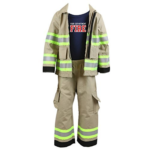 Fully Involved Stitching Personalized Firefighter Toddler 3pc Tan Outfit (4T)