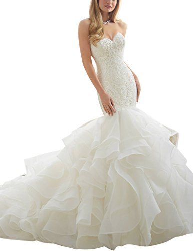 Pronovias Bridal Dresses - ASBridal Sweetheart Mermaid Organza Long Wedding Dresses Birdal Gowns 2016 White US 4