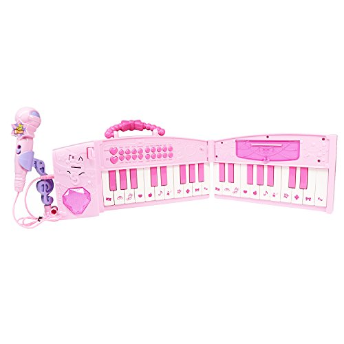Foldable Kids Keyboard Piano,aPerfectLife 37 Keys Electronic Pink Portable Keyboard Piano Musical Instrument Toy for Children with Real Working Microphone and Colorful Light by aPerfectLife