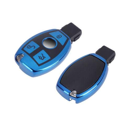Xotic Tech Blue TPU Full Sealed Smart Key FOB Cover Case for Mercedes Benz C E G S M CLS CLK Class