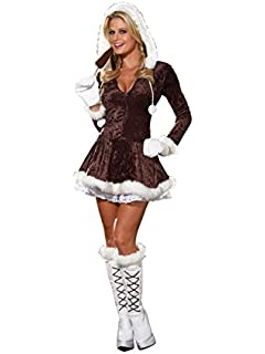 White Eskimo Christmas Outfit Ladies Fnacy Dress Fur Hood Boot Covers Winter