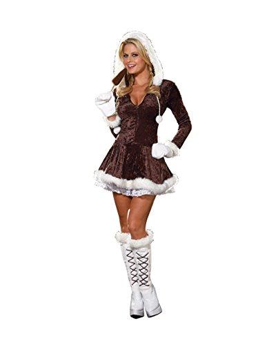 [Dreamgirl Women's Eskimo Cutie Costume, Brown, Small] (Eskimo Cutie Costumes)