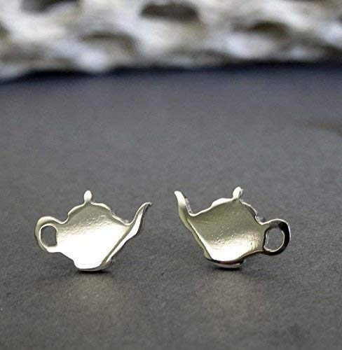 Tea pot kettle stud earrings polished sterling silver post jewelry. Handmade in the USA.