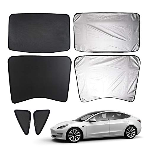 (Mixsuper Newly Update Model 3 Sun Shades,Car Sunroof UV Rays Protection Window Shade for Tesla Model 3,Half Covered Rear Sunshade Type with Free UV and Heat Insulation Film)